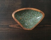 Small Triangle Bowl : Green and Gold Dots