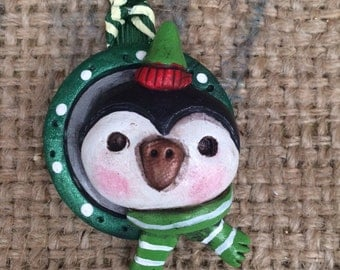 Small penguin folk art Christmas ornament Ready to ship in red and green