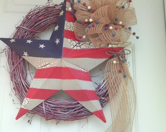 Patriotic Star Wreath, Americana, Fourth of July Wreath, , Memorial Day, Veterans Day, Military Wreath