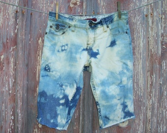Junior Size 3 Bleached Upcycled Denim Cut Off Bermuda Shorts