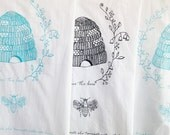 BLUE BEEHIVE Pattern Durable Flour Sack Tea Towel with Love the Bees Quote & Queen Bee