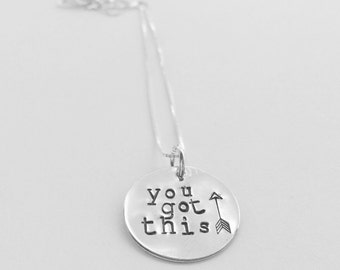 YOU GOT THIS handstamped pendant necklace encouragement honor hope free us shipping