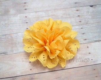 Yellow Eyelet Lace Flower // Sunshine Yellow Lace Hair Clip //  Hair Clip - Lace Flower // Bright Yellow Lace Flower // Hair Accessories
