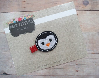 felt penguin clippie winter hair clip hair barrette black and white // Ready To Ship