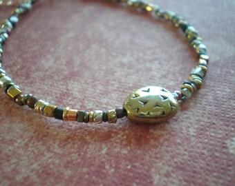 Rustic Bracelet | Bohemian Jewelry | Boho Chic | Delicate Bracelet | Mixed Metal Bead | Gift Teen | Bean Charm Bead | Thin Layering Bracelet