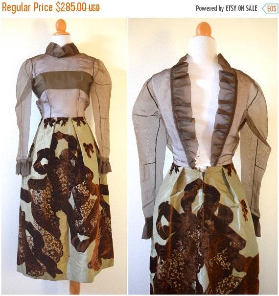 SUMMER SALE / 20% off Vintage 60s Antonio Tirado Haute Couture Brown and Sage Green Raw Silk Taffeta and Velvet Backless Illusion Shirt Wais