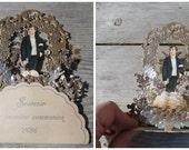 Vintage Antique 1900 Popo up 3D Holy communion  souvenir /paper lace