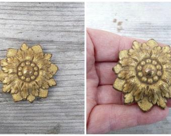 Vintage 1900 Hardware gilt brass bow /hook cover/ furniture rosace applique ornements France