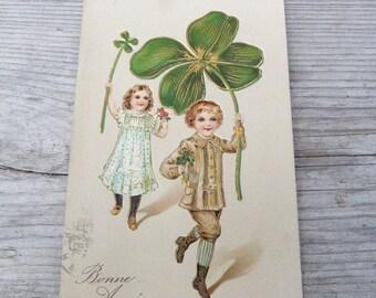 Vintage  Antique 1900/1910 French embossed gilted postcard  Bonne Année