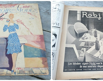 Vintage June 1928 French Issue magazine  MIROIR Des Modes  fashion paper ephemera advertisment