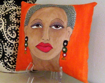 AFRICAN WOMAN PILLOW, hand painted pillow, girlfriend gift, deep orange pillow, maya angelou quote, African American woman, decorative art