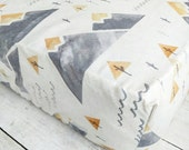 Mountain Fitted Crib Sheet for Baby Boy Nursery - Woodland Fitted Crib Sheet - Beige Gray Tan Fitted Crib Sheet - Neutral Fitted Crib Sheet