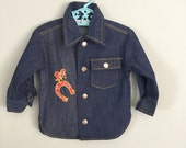 Vintage 70s Healthtex Denim Kids Shirt Size 18 to 24 months