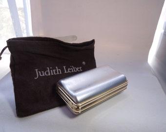 Vintage Judith Lieber Mini Audiere rippled rectangle Purse shell and chain #1