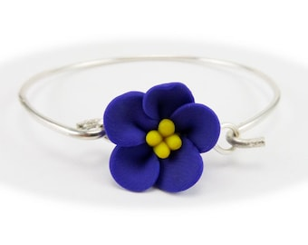 Purple African Violet Bracelet Sterling Silver Bangle - African Violet Jewelry, African Violet Flowers