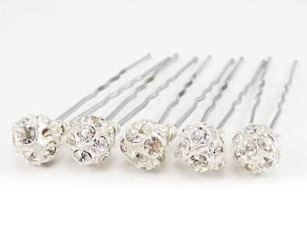 Silver Rhinestone Hair Pins - Bridal Crystal Ball Hair Pins, Wedding Silver Rhinestone Hair Pins - FLAT RATE SHIPPING