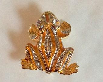 Frog froggy orange enamel pave CZ vintage silver tone brooch/pin