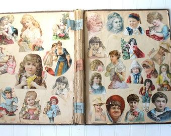 Antique Scrapbook, Vintage 1880's Victorian Scrapbook, Trade Trading Cards, Advertising Cards, Antique German Die Cut, Vintage Ephemera