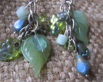 Handmade Faerie Earrings,Green Glass Leaves With Blue Drops Dangle, Handmade By Susan Every OOAK