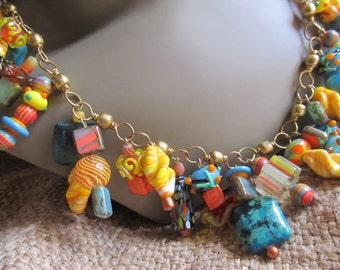 Festive Orange, Yellow & Aqua, Lampwork Beaded Necklace Handmade By Susan Every OOAK, Ships Worldwide
