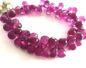 Gorgeous magenta colored hydro quartz faceted tear drops