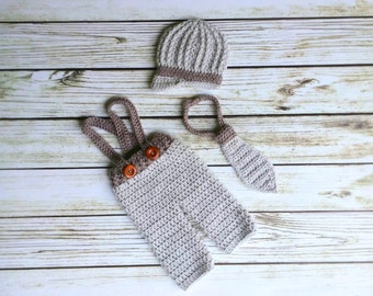 Crochet Baby Pants with Suspenders - Newsboy Hat - Neck Tie -  Photography Prop - Newborn Photo Prop - Baby Boy Outfit  - coming home Outfit