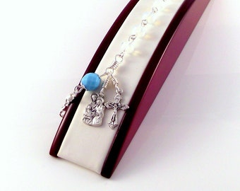 Rosary Bracelet Holy Family Nativity Italian Medals In Faceted Opalite and Blue Czech Glass