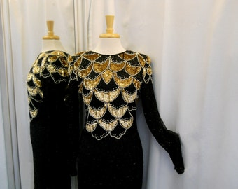 Vintage 1980s 80s Black Evening Dress Beaded Dress Long Sleeves Open Back Sequined Dress Glam 80s Dress Knee Length Black and Gold Size XS