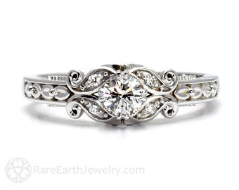 Diamond Engagement Ring Vintage Style Ring Filigree Ring Milgrain Conflict Free Diamond Ring 14K or 18K Gold