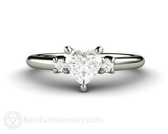 Heart 3 Stone Diamond Engagement Ring Diamond Solitaire 14K or 18K Gold Conflict Free