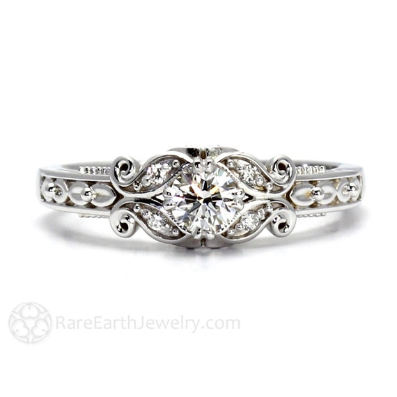 Diamond Engagement Ring Vintage Style Ring Filigree Ring