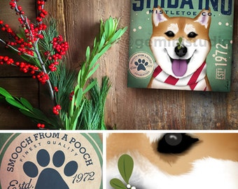 Shiba Inu Dog Mistletoe Company graphic artwork on gallery wrapped canvas by stephen fowler