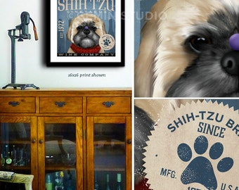 Shih Tzu Wine Company dog graphic illustration giclee archival signed artist's print by stephen fowler