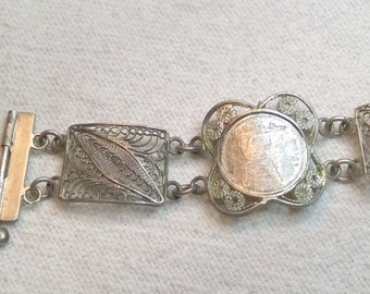 European Silver Filligree Bracelet Vintage with Ethiopean Antique Coins, Delicate, Beautiful