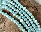 6x8mm Flat Potato Pearl Beads in Light Teal Blue