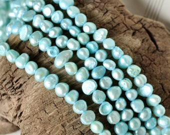 6x8mm Flat Potato Pearl Beads in Light Teal Blue
