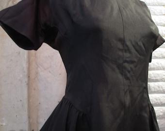 Black taffeta Vintage 50s dress Lucy style full gathered skirt Vintage distressed 50s party dress Vintage Goth satin dress M L