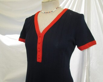 60s vintage Mod Dress Vintage Mini dress Navy knit with Red trim dress 60s mini mod dress M