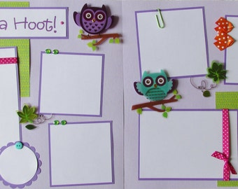 SHE'S A HOOT! 12x12 Premade Scrapbook Pages - GiRL