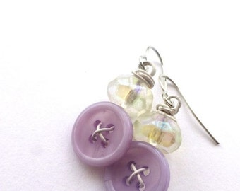 ON SALE Lavender and White Vintage Button Dangle Earrings