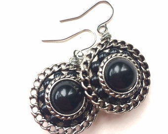 Silver and Black Vintage Button Earrings