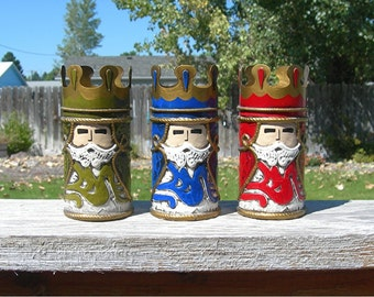 Christmas Wise Men Candle Holders, Vintage 1960s Era, Holiday Decoration, Made in Japan, 5-1/2 Inches Tall, Red - Blue - Green 3 Kings