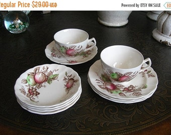 Johnson Bros Harvest Time Ironstone Dishes, Made in England, Vintage 1967-78, 10 pieces, Fruit Pattern Dishes