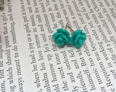 Rose Earrings Aqua Blue, Retro 50's Rose Earrings, Turquoise Rockabilly Rose Studs, Pin up Style Jewelry, Perfect Stocking Stuffer