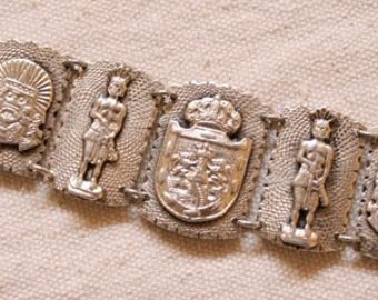 Vintage Mexican Sterling Silver Bracelet Mexico City Jewelry Old Mexican Silver Jewelry Circa 1940's Mexican Bracelet Aztec Design Jewelry