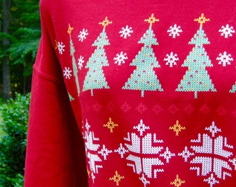 Christmas Sweatshirt - Reindeer and Snowmen -  Free Size
