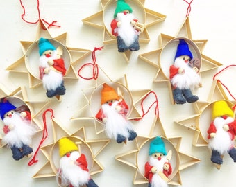 Christmas In July... Vintage Scandinavian Christmas Tree Ornaments Curled Wood Shaved Wood Stars with Elves