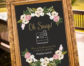 hashtag wedding printable, hashtag wedding, Large Custom Wedding Sign, Blush and Gold Wedding Decor, Oh Snap Wedding sign