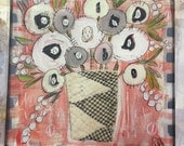 Neutral Red - Quilted flowers - folk art