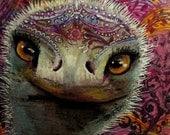 original art drawing zentangle ostrich bird5x5 framed color pencil drawing wall decor